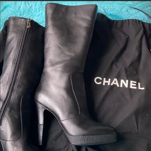 Chanel calfskin leather boots